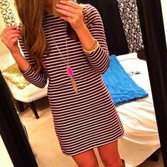 Black and white striped long sleeve dress + kendra scott necklace