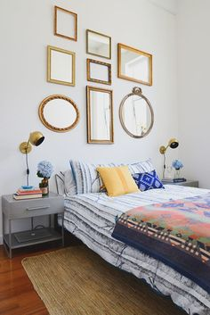 gold framed mirrors make a great headboard