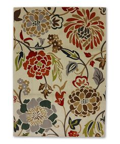 Loving this Stenciled Floral Multi Rug on #zulily! #zulilyfinds