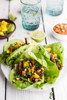 Crockpot Curried Thai Short Rib Lettuce Wraps with Peanut Sauce and Mango Salsa