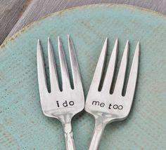 I do Me too Vintage Wedding Cake Fork Set by jessicaNdesigns, via Etsy.