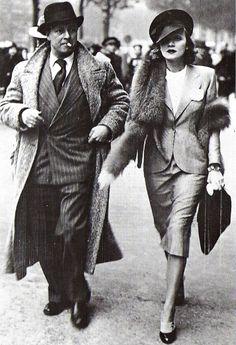 Actress Marlene Dietrich with husband Rudy Sieber in Paris (1938)