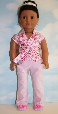 18 American Girl Doll Pink Polka Dot Wrap Top and by SewLikeBetty, $18.00