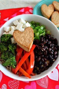 Quinoa Bowl + Marinated Tofu Hearts from Jewhungry #grainfree