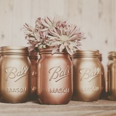 Painted mason jar vase. Centerpiece. copper and gold.