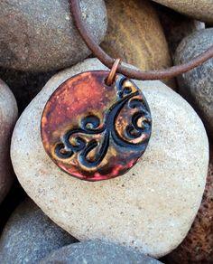 Artistic Polymer Clay Pendant by TrishsBeadsBangles on Etsy, $35.00