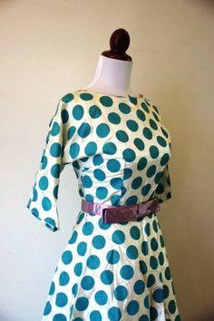 Vintage 1950s Blue Polka Dot Dress Picnic by RetroKittenVintage, $65.00