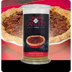 A mouthwatering invitation! A truly decadent southern favorite! With notes of sweet custard and toasted pecans, this is sure to please the young and old! Pecan Pie Candle Full size 21oz scented candle 100% all natural Soy candle  Burns for 100 to 150 hours.  Includes a surprise piece of jewelry in every candle.
