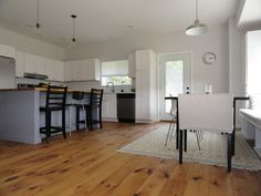 """Wide plank, finished on-site, natural perfection! """"So, I was not surprised by the imperfections of the floors or the occasional knots...I kept most of the boards as is because I didn't want it to look perfect but instead more of the rustic feel."""""""