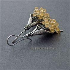 Strukova Elena - silver, brass, teardrop shaped beads Miyuki
