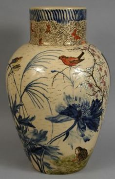 """1883 Rookwood Pottery vase, 21""""h. x 13""""dia., with blue underglaze decoration and applied paint decoration in Oriental motif with birds, foo dogs, and flowers; additional decoration inside top rim. Stamped on base 'C Rookwood 1883', '241', and signed in gilt paint 'A.H. Warren 1883'."""