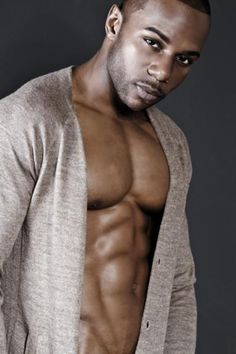 Heck Yea Sexy Black Man, his lips could use some lubricating but i like this cardigan against his skin, i feel inspired :D