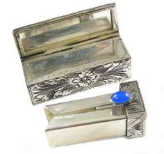 Vintage Hand Chased Lipstick Holder With Blue Accent Stone In 800 Silver,