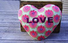 Children's heart pillow, nursery pillow, girls, kids room, home decor, baby room, love, throw pillow.