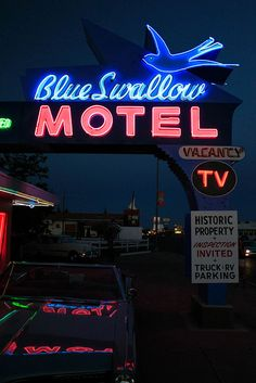 Blue Swallow Motel...... Tucumcari, New Mexico I want to stay here one day. Get your kicks on Route 66 :)