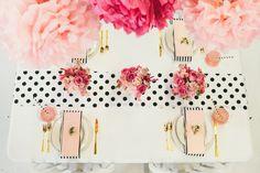 Black, white, pink + gold brunch table {Best Friends for Frosting for marthastewart.com}