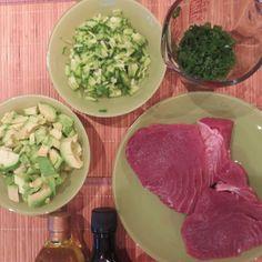 the makings of a Gluten Free Ahi Tuna Salad