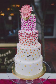 dotted wedding cake, photo by Mel Nocks Photography http://ruffledblog.com/whimsical-greenville-wedding #cakes #weddingcake