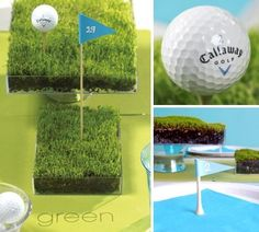 Great use of Grass as a Centerpiece for a Golf Party.