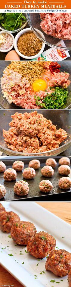Baked Turkey Meatballs by wishfulchef #Meatballs #Turkey
