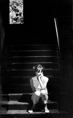 Audrey Hepburn waits for rehearsals, My Fair Lady, 1963