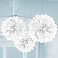 White Fluffy Ball Decorations, White Tissue Balls