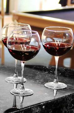 Monogrammed Red Wine Glasses