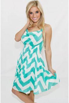 Style Me Pretty Chevron Dress In Mint - New Arrivals
