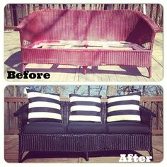 Wicker Couch Before and After with Rust-Oleum via Jessica P