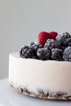 yogurt ice cream cake with strawberry compote filling.