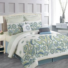8-Piece Delia Comforter Set in Blue