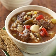 Come home to a hearty meal with this #slowcooker #barley and #beef soup.