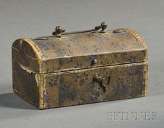 Miniature Wallpaper-covered Dome-top Box, early 19th century