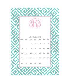 Free printable monogram calendar