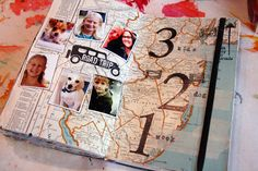 stamp, notebook, travel journals, road trips, map, collag