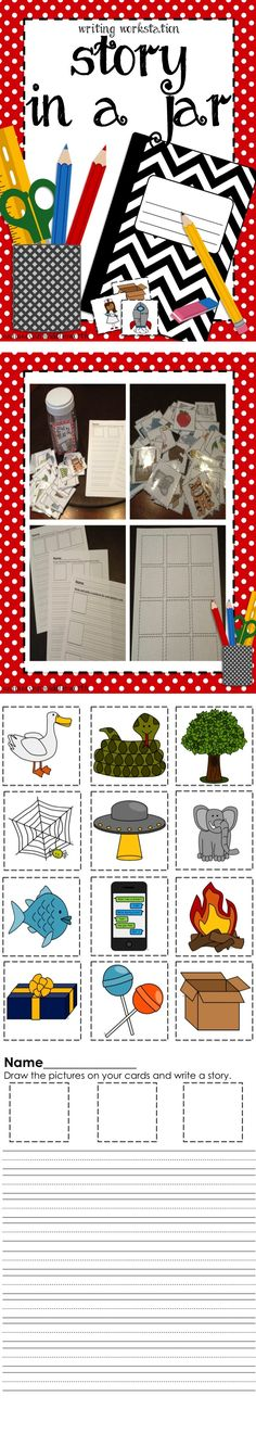 Story in a Jar is great for creative writing activities, writing workstation, or early finishers activity. jar