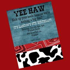 Western Birthday Invitation Cowboy Birthday Invitation Printable Digital Party Invite. $15.00, via Etsy.