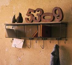 Wire Mesh Cubby with Coat Rack