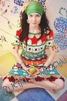 Crochet colorful dress, my gypsy style. This is so easy to make, even changing the motif and following the dress itself ♥LCPW-MRS♥ dress without diagram. ---- Crochetemoda: Vestido de Crochet Colorido