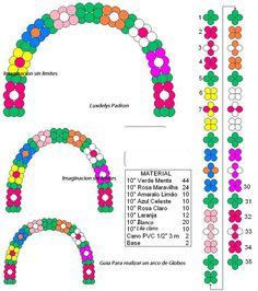 Patron para arco de globos en forma de flores.