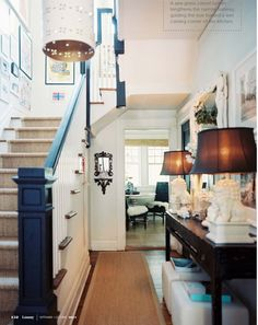 foyer - decor, foyers, stairs, blue, lamp, entrance halls, hallway, stair runners, entryway