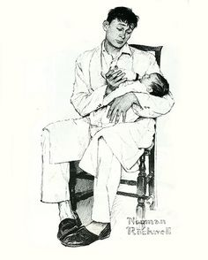 Dad and Baby--by Norman Rockwell