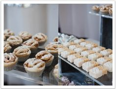 Mini pie and white chocolate dipped rice crispy treats!  Part of the ultimate dessert bar! Modern Luxe La Jolla  Wedding by Alchemy Fine Events.  www.alchemyfineevents.com desserts, beaches, white dessert, food, beach weddings, alchemy, dessert tablescap, dessert bars, rice crispy treats
