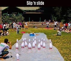 Awesome Summer Activities - slip 'n slide bowling!