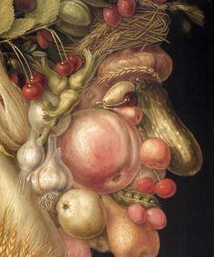 Arcimboldo. El verano (fragmento, Kunsthistorisches Viena, 1563) http://harteconhache.blogspot.com.es/2013/04/arcimboldo-el-biologo.html