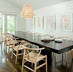Wishbone Chairs & wood slab table