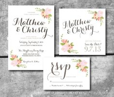 Rustic Floral Wedding Suite - Custom PRINTABLE Save the Date, Invitation, RSVP card by Itsy Belle via Etsy.
