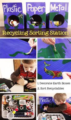 recycling activity - make Earth boxes and sort recyclables