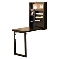 """Fold-out writing desk in black with two adjustable shelves.   Product: Writing deskConstruction Material: MDF and birch veneerColor: BlackFeatures:  Compact designTwo adjustable shelves Dimensions: 32"""" H x 22"""" W x 6"""" D (closed)"""