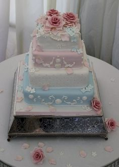 Fallen Rose Shabby Chic wedding cake ♥ Budget Wedding Ideas for brides, grooms, parents & planners ... https://itunes.apple.com/us/app/the-gold-wedding-planner/id498112599?ls=1=8 ♥ The Gold Wedding Planner iPhone App.